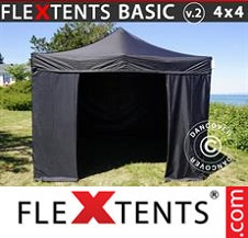 Eventtält FleXtents Basic 4x4m Svart, inkl. 4 sidor
