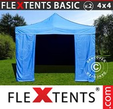 Eventtält FleXtents Basic 4x4m Blå, inkl. 4 sidor
