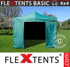Eventtält FleXtents Basic 4x4m Grön, inkl. 4 sidor