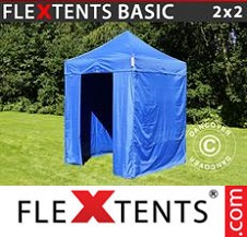 Eventtält FleXtents Basic 2x2m Blå, inkl. 4 sidor