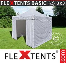 Eventtält FleXtents Basic 3x3m Blå, inkl. 4 sidor