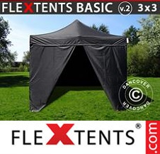 Eventtält FleXtents Basic 2x2m Svart, inkl. 4 sidor